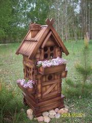 декоративный домик с ящиками для цветов