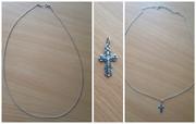 Цепочка на шею (плетение ''якорное'')+ крестик